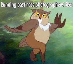 running past race photographers like